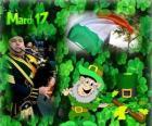 17 de março. Dia de São Patrício é a celebração da cultura irlandesa. Trevos usados como um símbolo da Irlanda