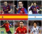 Nomeado para Ballon d'Or 2010 FIFA (Andrés Iniesta, Xavi Hernández, Lionel Messi)