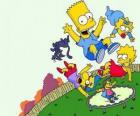Os irmãos Simpson com amigos Milhouse e Nelson salta sobre um trampolim