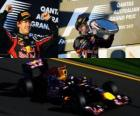 Sebastian Vettel celebra sua vitória no Grande Prémio da Austrália (2011)