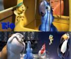 Blu junto com outros personagens no filme Rio