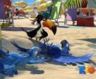 filme Rio, com três de seus protagonistas: as araras Blu, Jewel e o tucano Rafael na praia