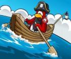 Capitão Rockhopper e seu animal de estimação em seu barco no Club Penguin