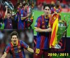 Leo Messi comemora o 2010-2011 da Liga dos Campeões