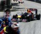 Sebastian Vettel celebra sua vitória no Grande Prêmio de Mônaco (2011)