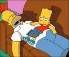 Bart senta na barriga de Homer