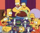 A família Simpson no dia de Ação de Graças, onde as famílias se reúnem para comer