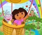 Dora a aventureira e seu amigo macaco Botas em aeróstato