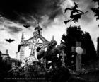 Cemitério no dia de Halloween