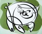 O porco, signo do Porco, o ano do Porco na astrologia chinesa. O último dos doze animais do zodíaco chinês