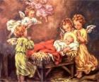 Vários anjos com o bebê Jesus