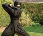 Guerreiro ninja e a luta com o katana