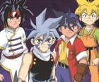 A equipe de Bladebreakers, Tyson Granger, Kai Hiwatari, Ray Kon e Max Tate