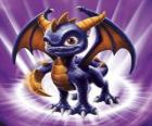 Skylander Spyro, o dragão é um adversário formidável que pode voar e disparar fogo de sua boca. Skylanders Magia