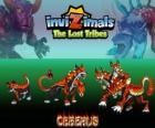 Cerberus, última evolução. Invizimals Tribos Perdidas. Temível e terrível cão de três cabeças