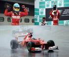 Fernando Alonso celebra sua vitória no Grande Prémio da Malásia (2012)