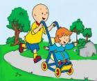 Caillou dando um passeio com a irmã no carrinho