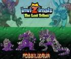 Fossilizaur, última evolução. Invizimals Tribos Perdidas. Invizimal vive em cavernas e para sobreviver pode alterar a cor da pele à vontade