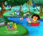 Dora e seu amigo macaco Botas em um barco