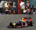 Sebastian Vettel comemora a vitória no Grande Prêmio do Bahrain (2012)