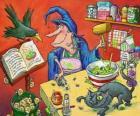 Bruxa preparando uma poção mágica com estranhos ingredientes