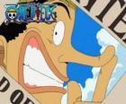O pirata Usopp é um personagem esperto, brincando e se gabar