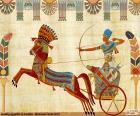 Guerreiro egípcio e carruagem