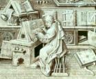 Monge copista trabalhando com o cálamo e tinta sobre papel ou pergaminho no scriptorium