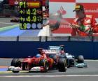 Fernando Alonso comemora sua vitória no Grande Prémio da Europa (2012)