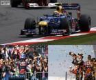 Mark Webber comemora sua vitória no grande prémio de Inglaterra 2012