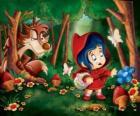 Chapeuzinho Vermelho na floresta com o lobo escondido entre as árvores