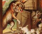 As sete crianças pequenas têm medo e correr e se esconder quando vêem o lobo na porta