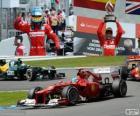 Fernando Alonso comemora sua vitória no Grand Prix da Alemanha 2012