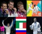 Individual Sabre pódio masculino, Áron Szilágyi (Hungria), Diego Occhiuzzi (Itália) e Nikolai Kovalev (Rússia) - Londres 2012-