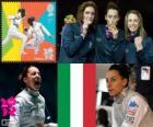 Pódio Florete individual de mulheres, Elisa Di Francisca (Itália), Arianna Errigo (Itália) e Valentina Vezzali (Itália) - Londres 2012-