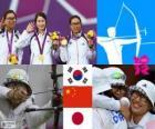 Pódio tiro com arco Feminino, Coreia do Sul, China e Japão - Londres 2012 -