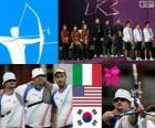 Pódio equipes do homens tiro com arco, Itália, Estados Unidos e Coréia do Sul - Londres 2012-