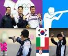 Pódio tiro, pistola de ar 10 m masculino, Jin Jingoh (Coréia do Sul), Luca Tesconi (Itália) e Andrija Zlatić (Sérvia)