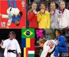 Pódio judô feminino - 48 kg, Sarah Menezes (Brasil), Alina Dumitru (Roménia), Charline Van Snick (Bélgica) e Eva Csernoviczki (Hungria) - Londres 2012 -