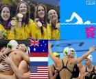 Podium natação feminina de revezamento 4 x 100 metros, Austrália, Estados Unidos e Holanda - Londres 2012-