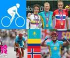 Podio Corrida em estrada masculino, Alexander Vinokourov (Cazaquistão), Rigoberto Urán (Colômbia) e Alexander Kristoff (Noruega) - Londres 2012-