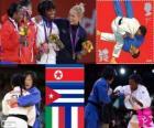 Pódio judô feminino - 52 kg, Kum Ae uma (Coreia do Norte), Yanet Bermoy Acosta (Cuba), Rosalba Forciniti (Itália) e Priscilla Gneto (França) - Londres 2012 -