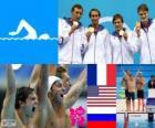 Podium natação 4 X 100m livre feminino, França, Estados Unidos e Rússia - Londres 2012-