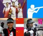Pódio de tiro, carabina de ar 10 m feminino, Yi Siling (China), fácil Bogacka (Polónia) e Yu Dan (China)