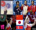 Pódio 48 kg de levantamento de peso feminino, Wang Mingjuan (China), Hiromi Miyake (Japão) e Ryang Chun-Hwa (Coreia do Norte) - Londres 2012-