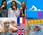 Podium Natação 400 m livre feminino, Camille Muffat (França), Allison Schmitt (Estados Unidos) e Rebecca Adlington (Reino Unido) - Londres 2012 -