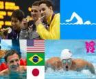 Podium natação nos 400 m Medley Masculino, Ryan Lochte (Estados Unidos), Thiago Pereira (Brasil) e Kosuke Hagino (Japão) - Londres 2012 -