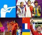 Pódio tiro, pistola de ar 10 m de mulher, Guo Wenjun (China), Céline Goberville (França) e Olena Kostevych (Ucrânia) - Londres 2012-