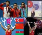 Pódio Halterofilismo 56 kg homens, Om Yun-Chol (Coréia do Norte), Wu Jingbao (China) e Valentin Hristov (Azerbaijão) - Londres 2012-