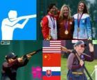 Podio Skeet feminino, Kim Rhode (EUA), Ning Wei (China) e Danka Bartekova (Eslováquia) - Londres 2012-